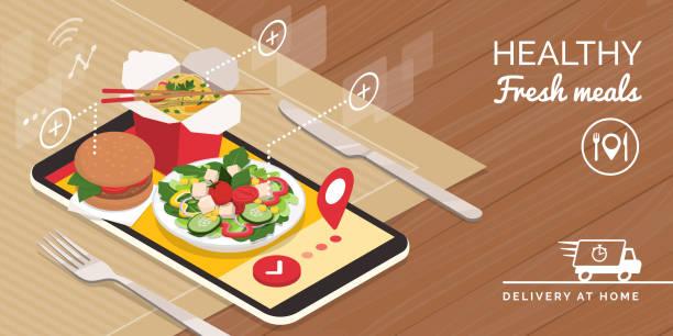 gesunde essensausgabe zu hause und smartphone-app - hamburger schnellgericht stock-grafiken, -clipart, -cartoons und -symbole