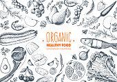 健康食品フレーム ベクトル イラスト。野菜、果物、肉手描き。有機食品のセットです。良好な栄養状態です。