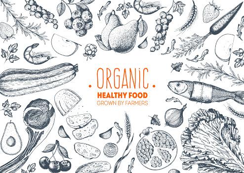 Healthy Food Frame Vector Illustration Vegetables Fruits Meat Hand Drawn Organic Food Set Good Nutrition Stock Illustration - Download Image Now