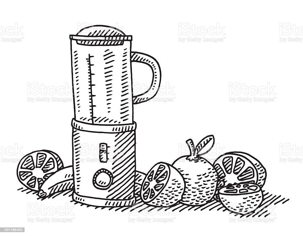 Zdrowe Jedzenie Owocow Blender Rysunek Stockowe Grafiki Wektorowe