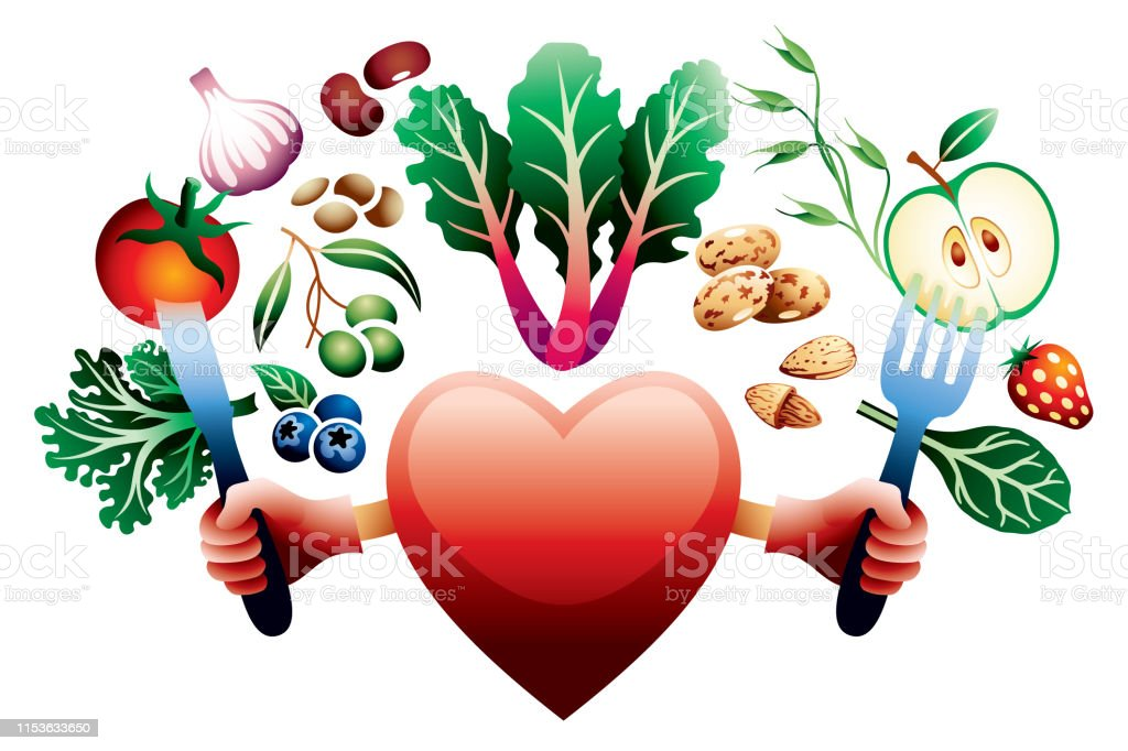 A heart holding a knife and fork with various healthy vegetarian...