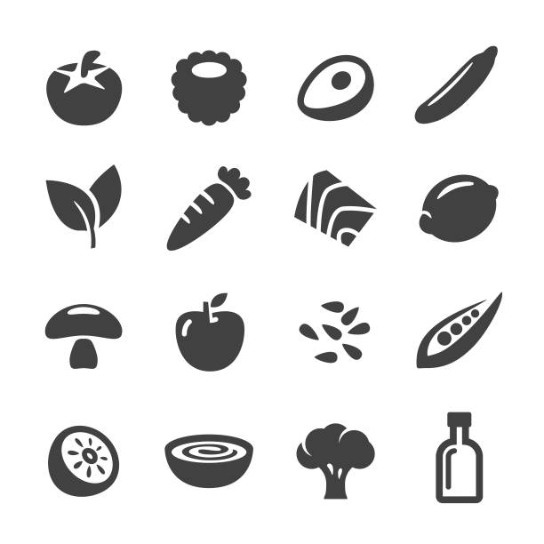 healthy food icons - acme series - vegetarian stock illustrations, clip art, cartoons, & icons