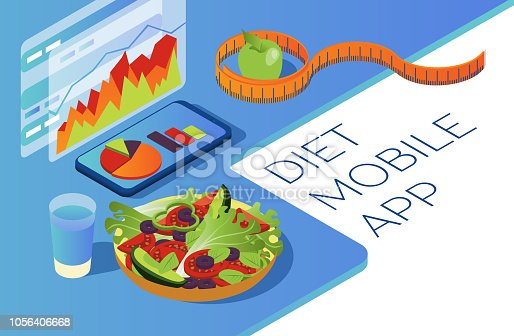 Healthy food in isometric. Mobile application for counting calories. Seasonal vegetables and fruits. Smartphone with graphs on a white background