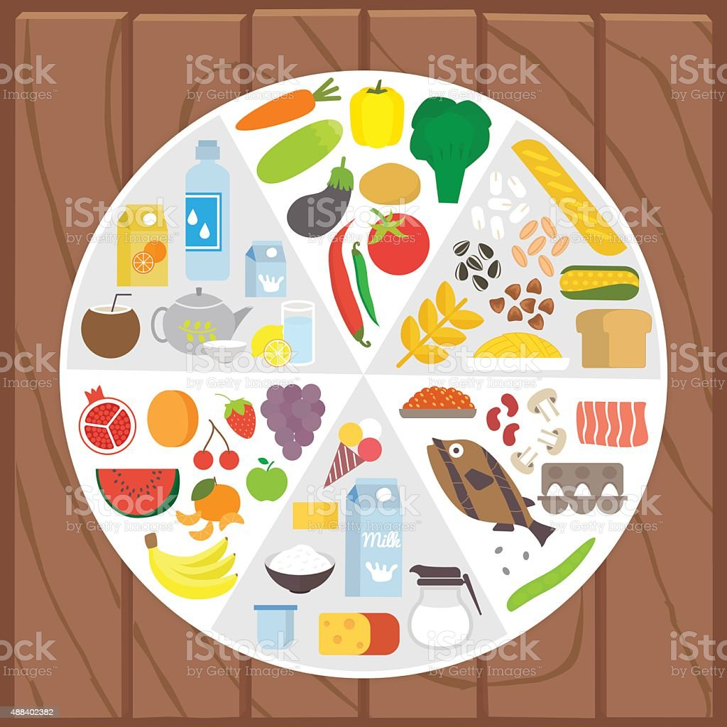 Healthy food. Infographic lifestyle concept with plate shared on portion vector art illustration