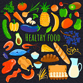 Healthy food isolated icons, fresh organic products, cartoon fruits and vegetables, vector illustration. Seafood and meat, dairy and bread in hand drawn set. Health lifestyle diet food assortment