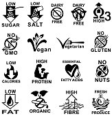 Single colour black healthy food and nutritional information icons. Isolated.