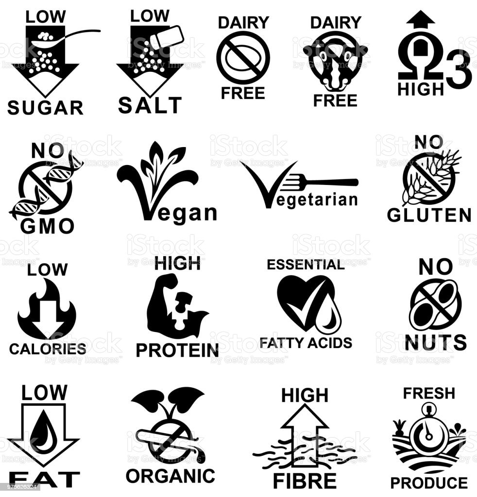 Healthy Food Label Icons. vector art illustration