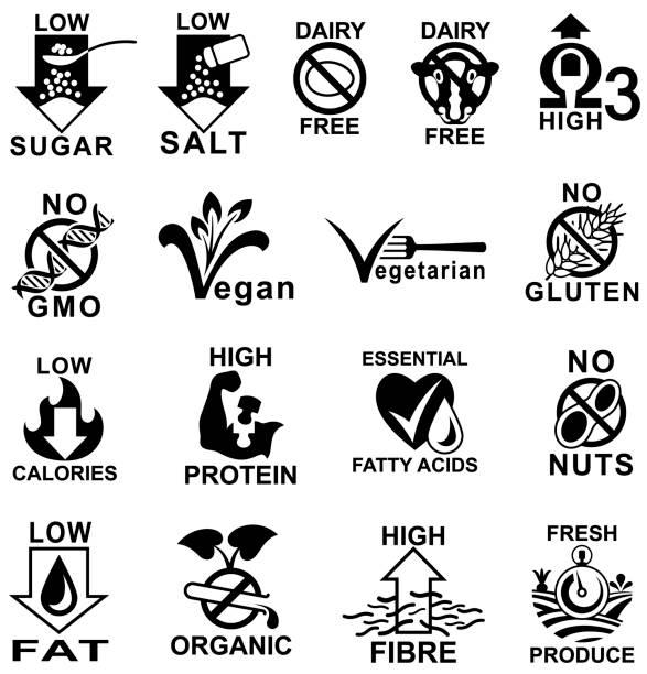 ilustraciones, imágenes clip art, dibujos animados e iconos de stock de iconos de etiqueta de alimentos saludables. - alergias alimentarias