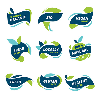Set of healthy, natural, organic food labels.  Natural product tags for vegan cafe, restaurant menu, products packaging.  This file is layered, all colours easy to edit.