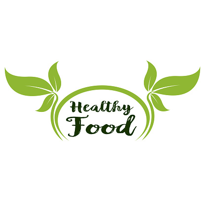 Healthy Food Lettering in Round Frame vector