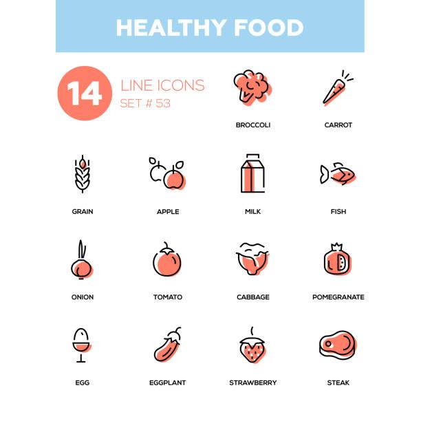 illustrazioni stock, clip art, cartoni animati e icone di tendenza di healthy food - line design icons set. - banchi di pesci