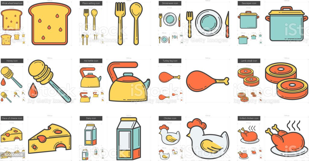 Healthy food line icon set vector art illustration