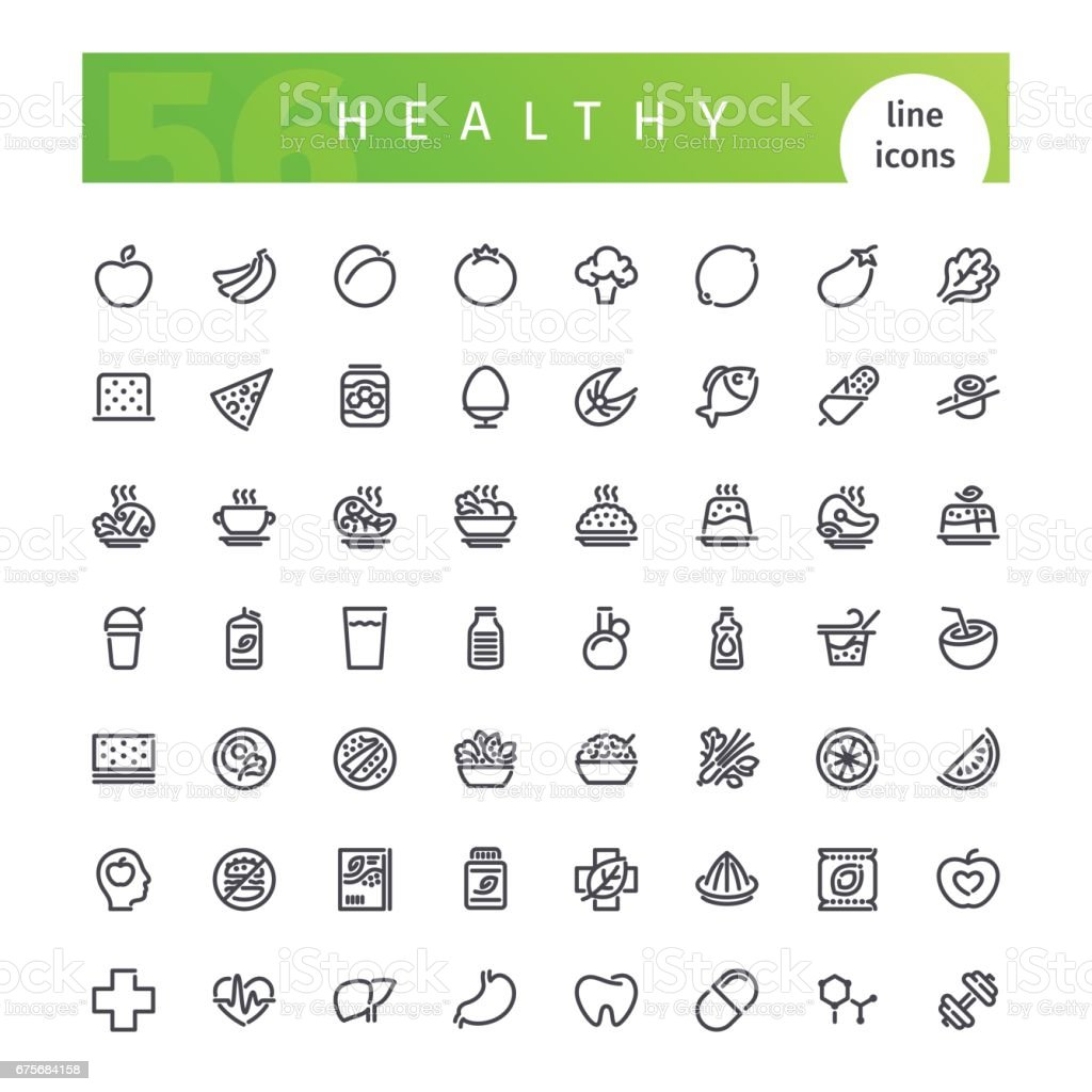 Healthy Food Line Icons Set vector art illustration