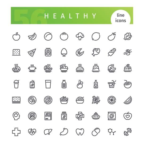 gesunde ernährung-linie icons set - grundnahrungsmittel stock-grafiken, -clipart, -cartoons und -symbole