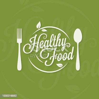 Healthy food logo. Plate with fork and spoon concept on green background 10 eps