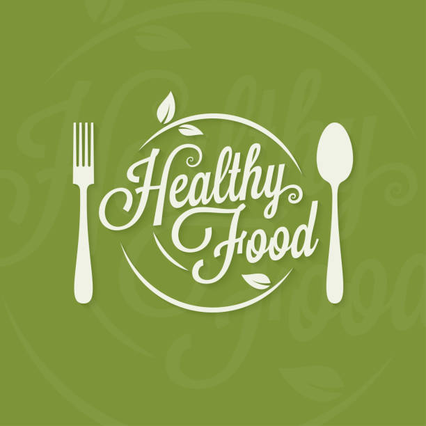 healthy food logo. plate with fork and spoon concept on green background - restaurant logos stock illustrations, clip art, cartoons, & icons