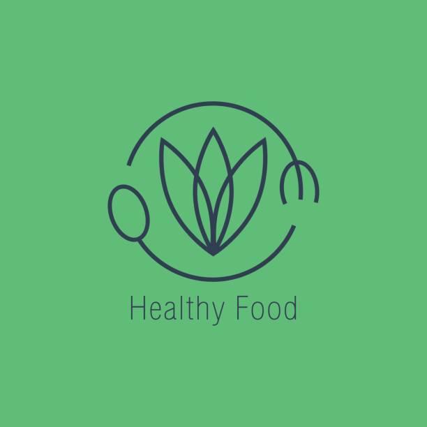 healthy food logo vector icon design vector art illustration