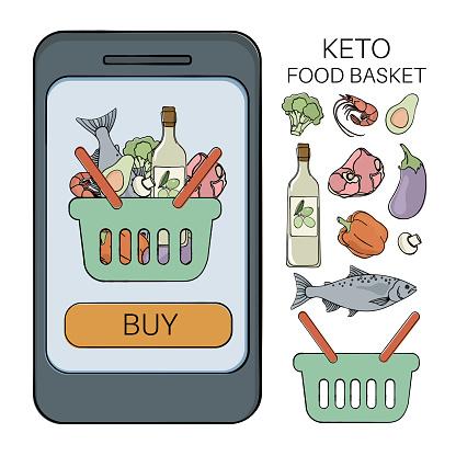KETO BASKET Healthy Food Low Carb Vector Illustration Set