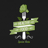 Healthy food menu. Fork with broccoli logo on black background 10 eps