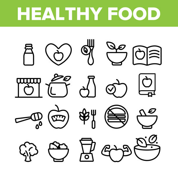 Healthy Food Nutrition Collection Icons Set Vector Healthy Food Nutrition Collection Icons Set Vector Thin Line. Honey, Broccoli And Apple Ingredients Health Breakfast Food Concept Linear Pictograms. Monochrome Contour Illustrations crucifers stock illustrations