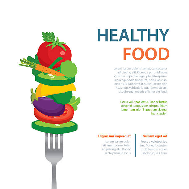 healthy food on the fork  diet concept fruits and vegetables - healthy eating stock illustrations, clip art, cartoons, & icons