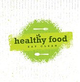 Healthy Food Organic Paleo Style Rough Vector Design Element On Cardboard Background