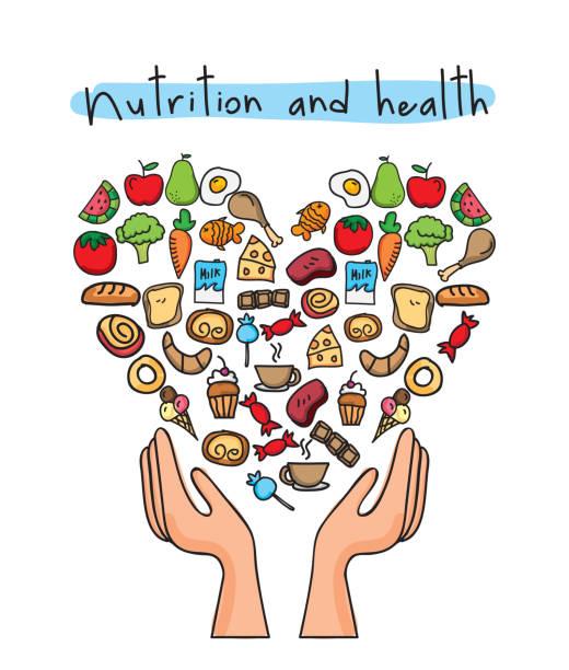 gesunde ernährung über weißem hintergrund-vektor-illustration - karotte peace stock-grafiken, -clipart, -cartoons und -symbole
