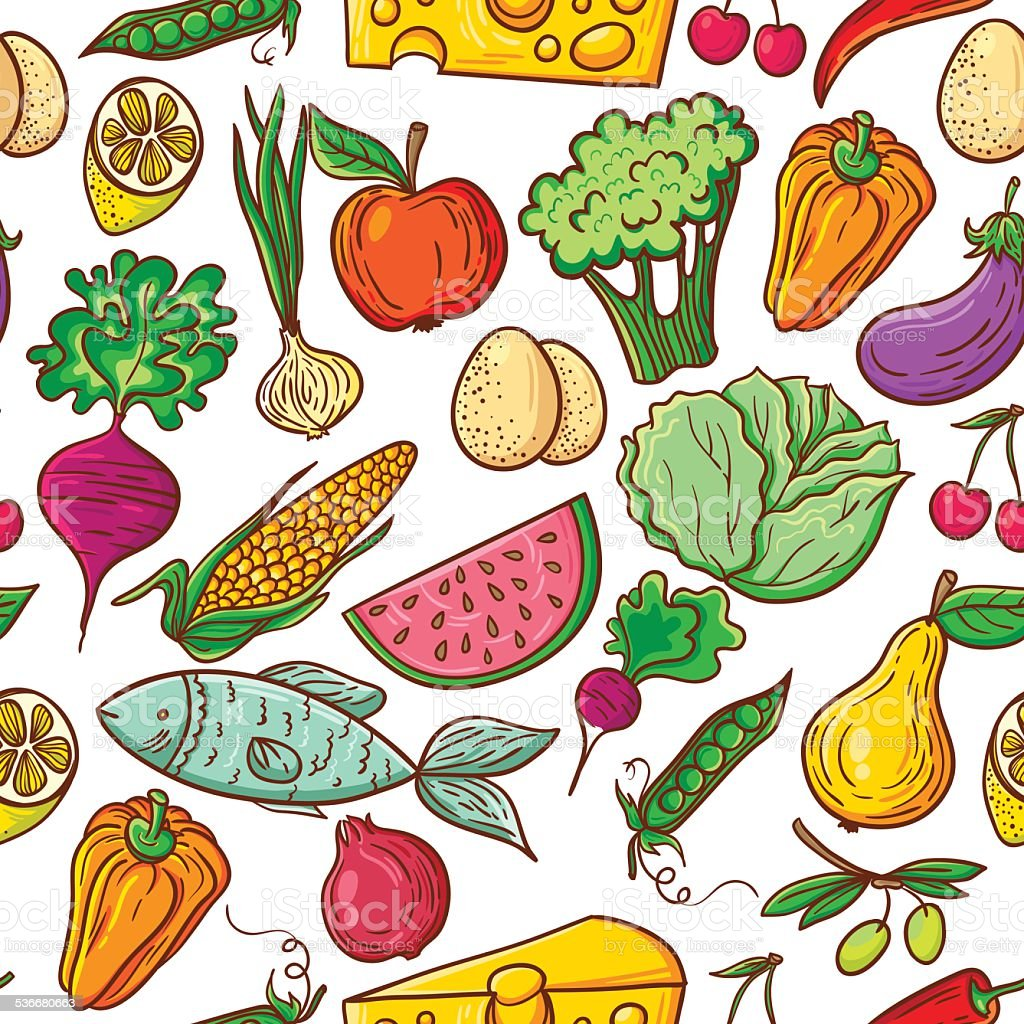 Healthy food pattern vector art illustration