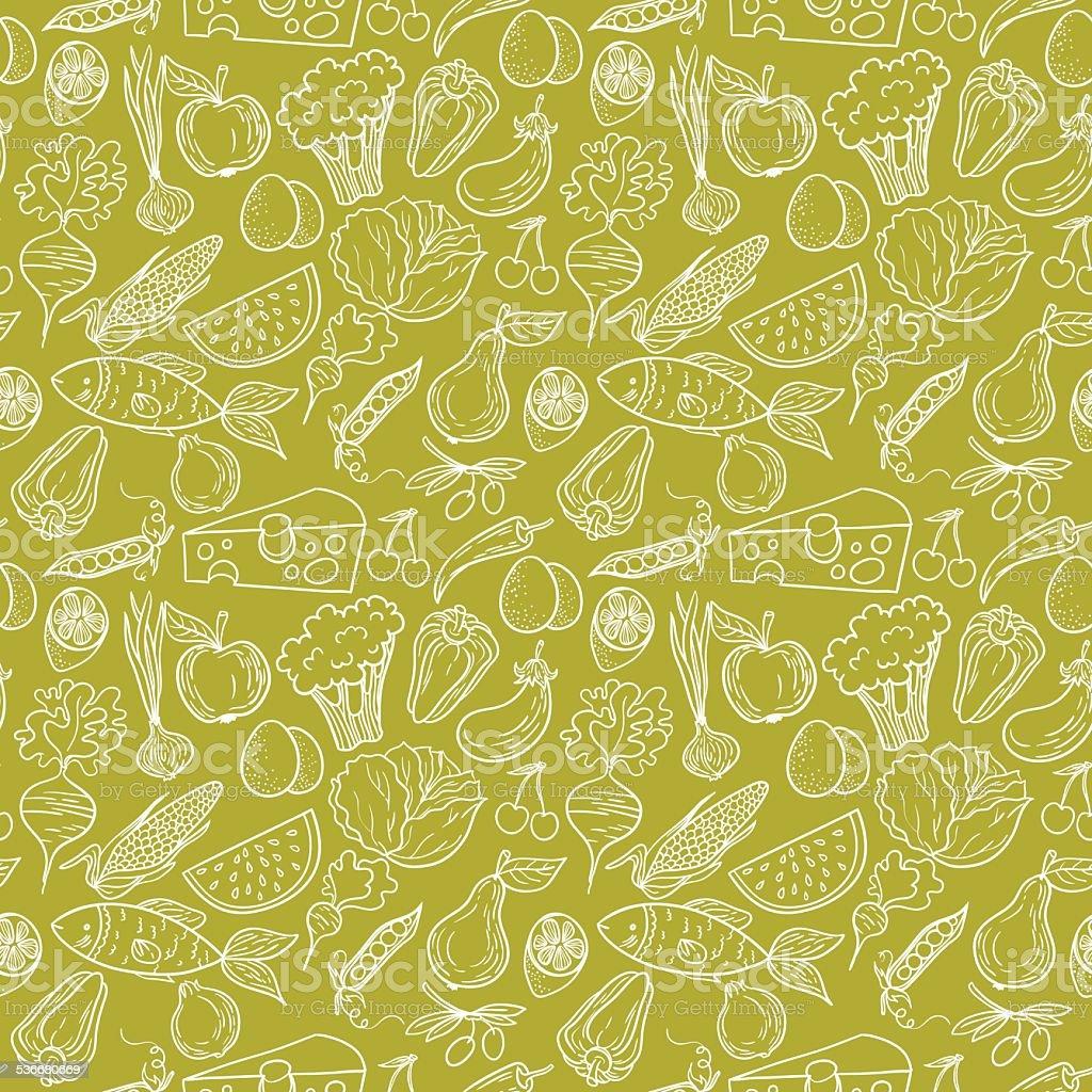 Healthy food pattern vector art illustration