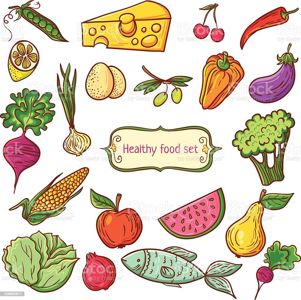 Healthy Food Pattern Stock Vector Art Amp More Images Of