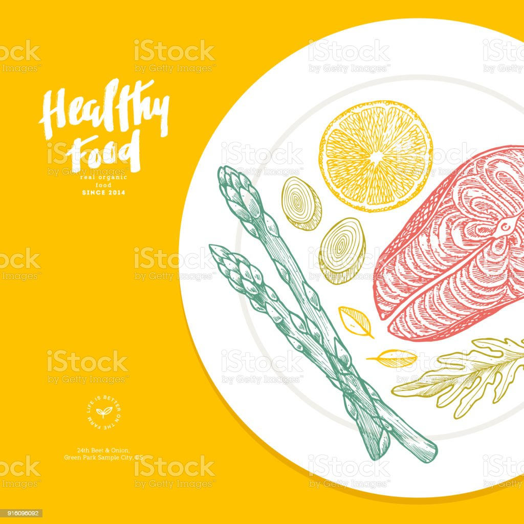 Healthy Food Plate Illustration Good Nutrition Design Template