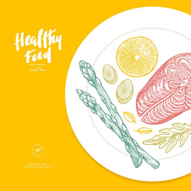 Healthy food plate illustration. Good nutrition design template. Vector illustration Vector illustration serving dish stock illustrations