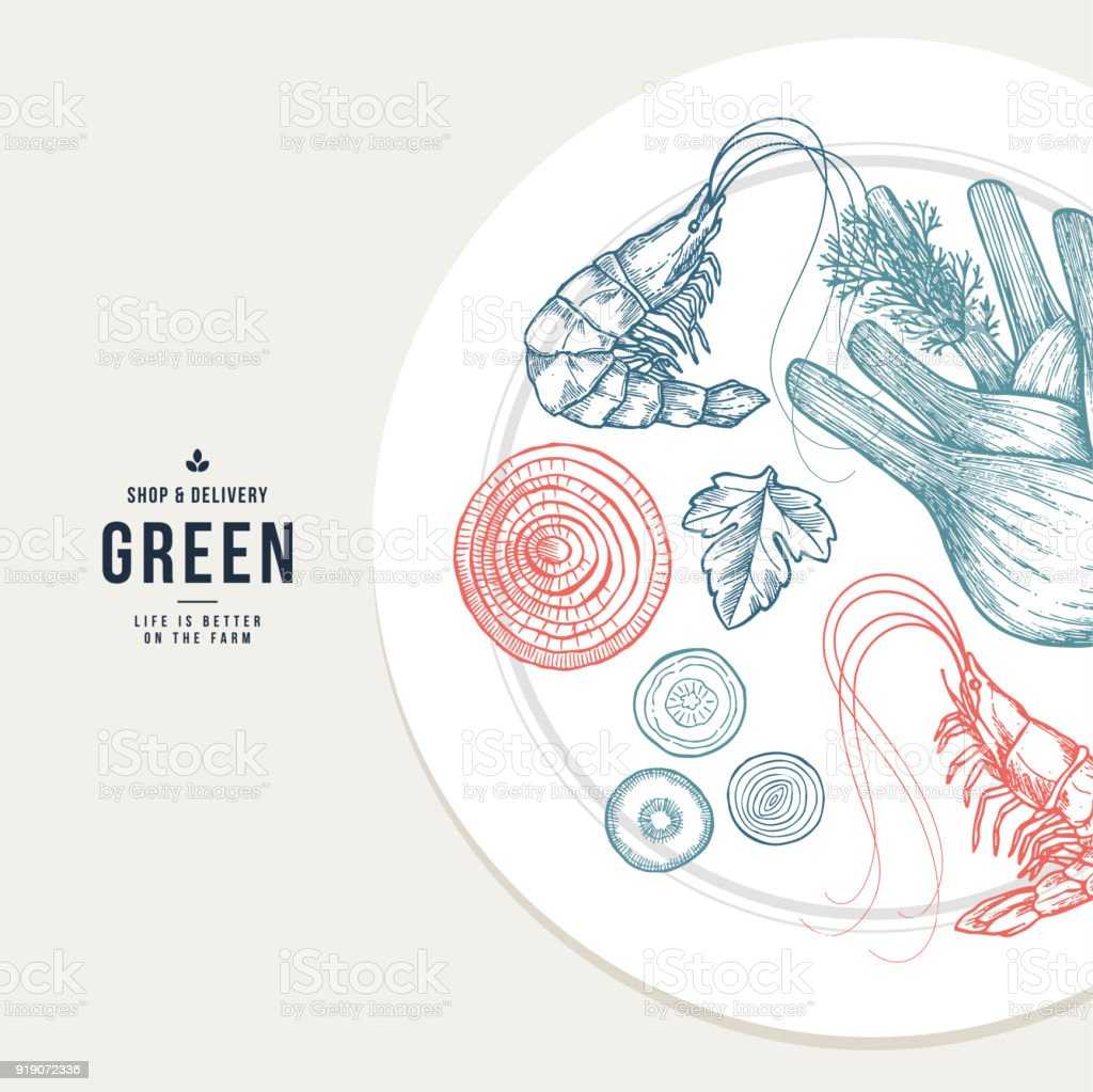 Healthy Food Plate Illustration Weight Loss Design Template Vector