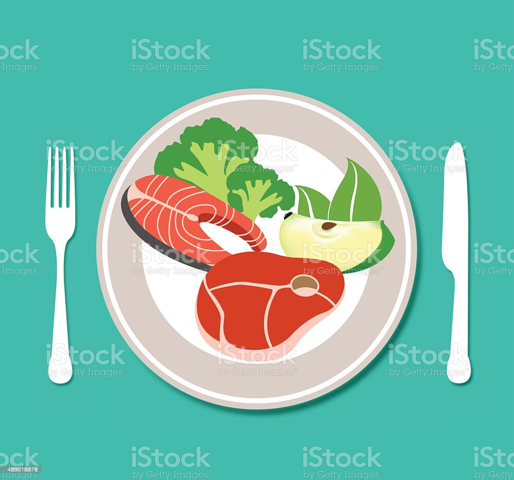 Healthy food plate vector art illustration