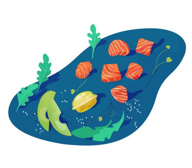 健康的な食べ物、サーモンの平和。アジア料理。 - ポキ点のイラスト素材/クリップアート素材/マンガ素材/アイコン素材