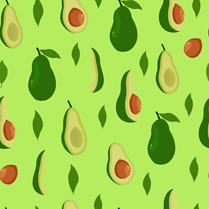 Healthy food. Seamless avocado pattern on a green background. avocado print.