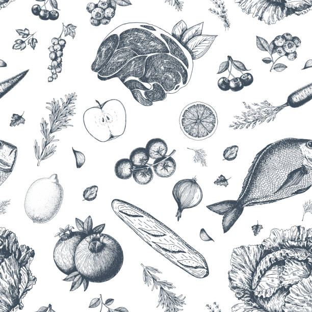 ilustrações de stock, clip art, desenhos animados e ícones de healthy food seamless pattern. hand drawn vector illustration. background with vegetables, fruits and meat. organic food set - meat texture