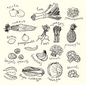 Healthy food. Sketch style