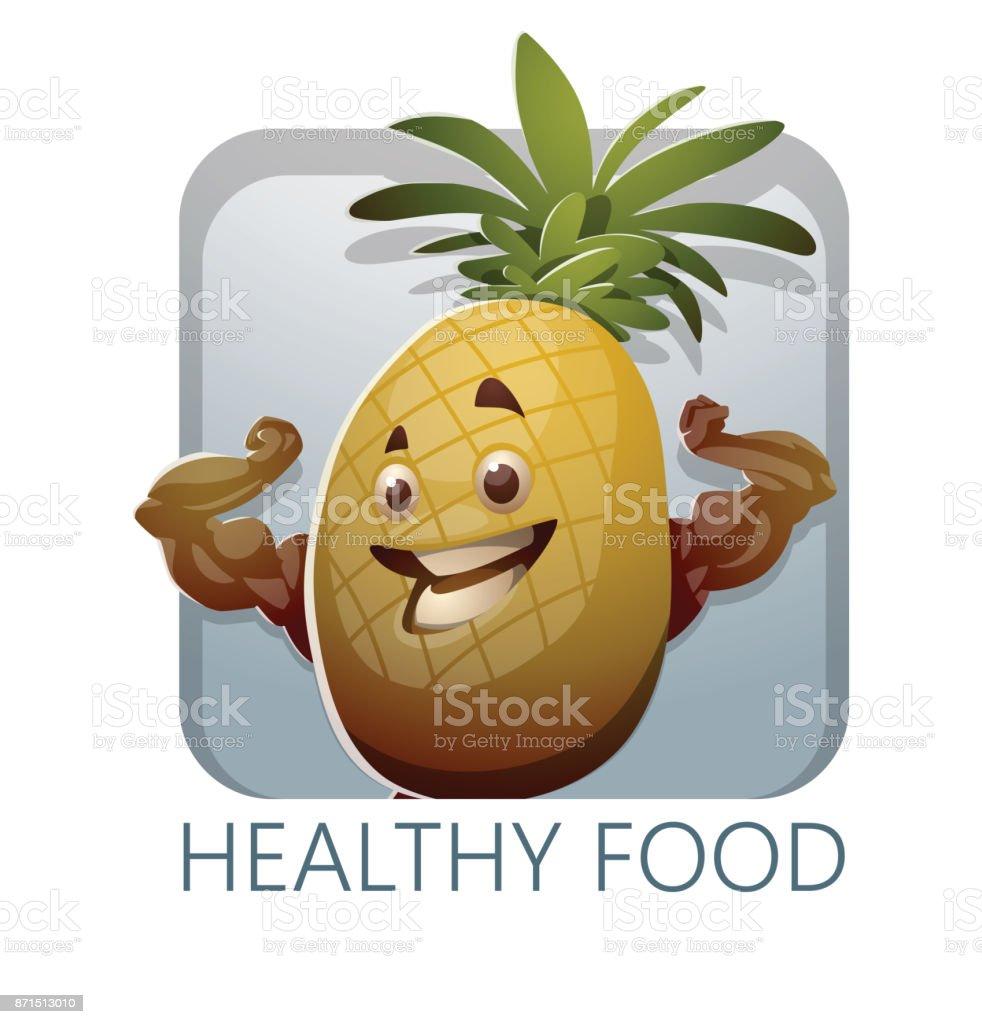 Gesunde Ernährung Quadratischen Rahmen Mit Gelb Ananas Stock Vektor ...