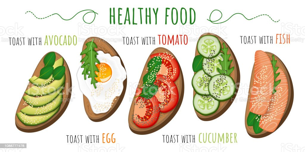 Healthy food. Toasts with avocado, tomato, fried egg, cucumber and fish. Vector illustration isolated on white background vector art illustration