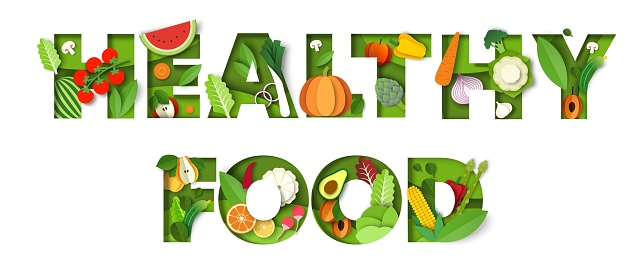 Healthy food typography vector banner template. Paper cut fresh vegetables and fruits. Vegan diet, organic nutrition.