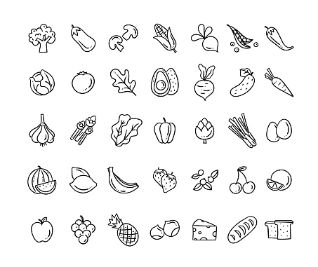 Healthy food vector icons. Hand drawn food icon set. Cute eating doodles isolated on white background