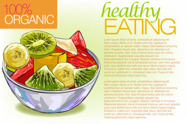 ilustrações, clipart, desenhos animados e ícones de saudável alimentos - fruit salad