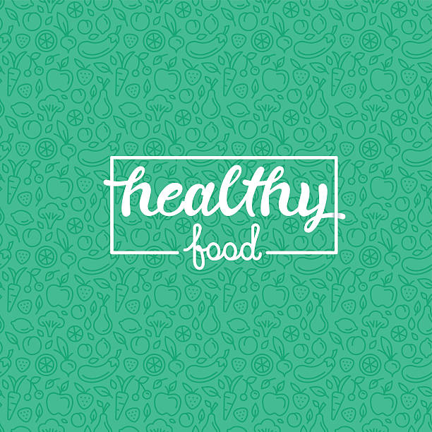 Healthy food Healthy food - motivational poster or banner with hand-lettering phrase on green background with trendy linear icons and signs of fruits and vegetables - vector illustration weight loss stock illustrations