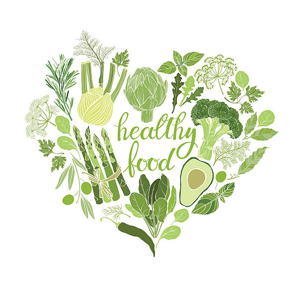 Healthy food. Vector illustration of heart shape. Green vegetables, spices and culinary herbs. Food vector background. Green vegetables, spices and culinary herbs. avocado silhouettes stock illustrations