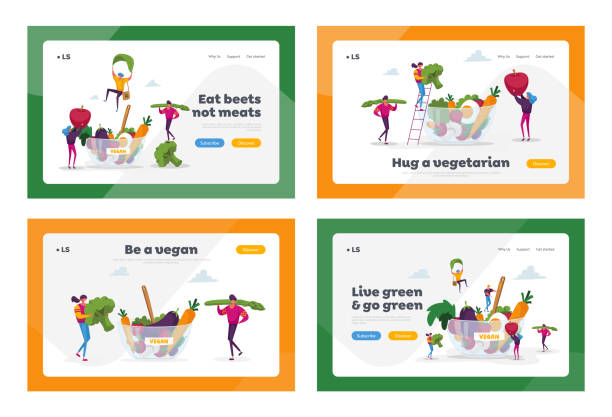 Healthy Food, Vegetarian Diet Landing Page Template Set. Tiny Characters at Huge Bowl with Fruits, Vegetables and Eggs. Healthy Lifestyle, Organic Vegan Choice. Cartoon People Vector Illustration Healthy Food, Vegetarian Diet Landing Page Template Set. Tiny Characters at Huge Bowl with Fruits, Vegetables and Eggs. Healthy Lifestyle, Organic Vegan Choice. Cartoon People Vector Illustration crucifers stock illustrations