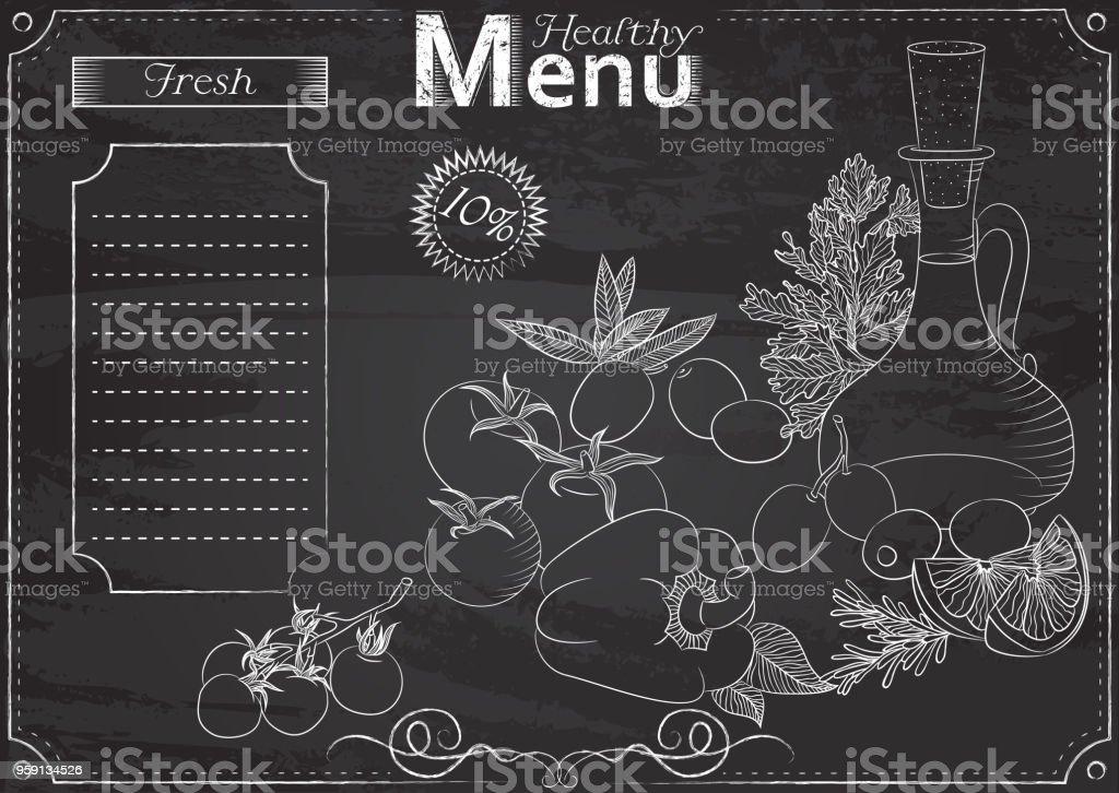 Healthy foods menu vector art illustration