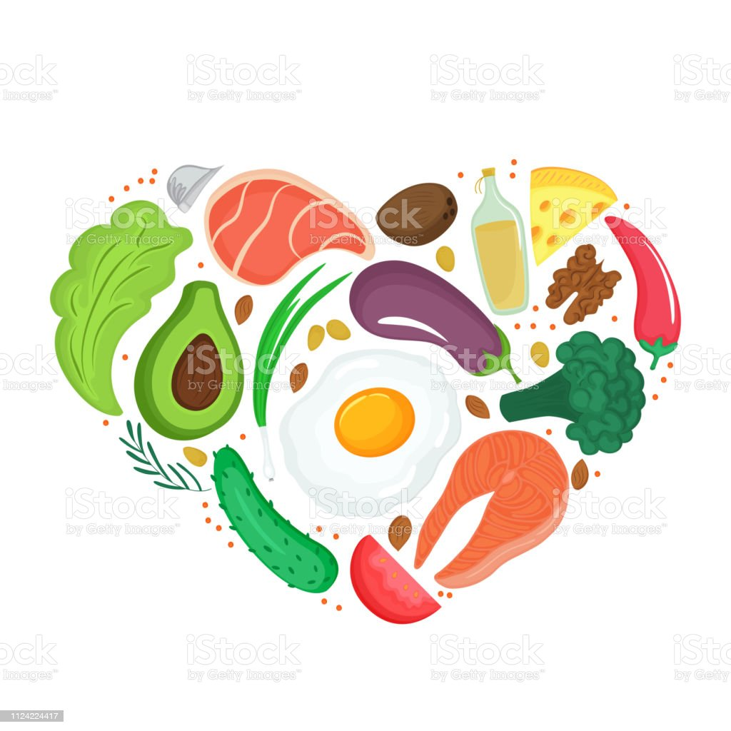 Healthy Foods Vegetables Nuts Meat Fish Heart Shaped Banner Keto Diet Ketogenic Nutrition Stock Illustration Download Image Now Istock
