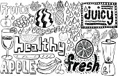 Healthy fruit sketch collection in black and white