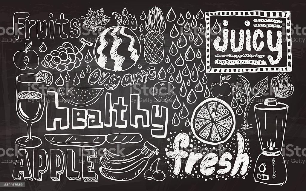 Healthy fruit sketch collection vector art illustration